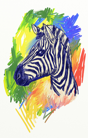 natura: zebra T-shirt graphics. zebra illustration textured background. unusual illustration for fashion print, poster, textiles, fashion design