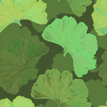 Ginkgo biloba leaf tablecloth seamless pattern. Silhouette of ginkgo leaves with dark veinlets. Isolated vector illustration. Nature design