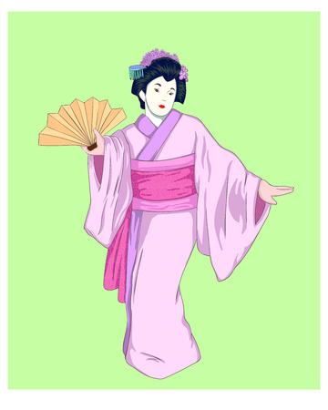 geisha in pink kimono on green background. Vector illustration