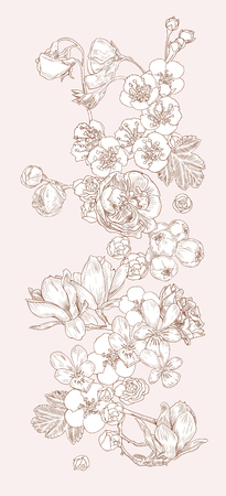 set of vector flowers on a light background. Flower tattoo.