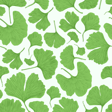 Ginkgo biloba leaf tablecloth seamless pattern. Silhouettes of ginkgo leaves on white background. Nature design