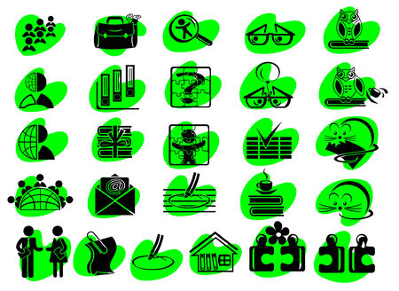 Set of detailed business education and media flat vector icons (on colorful spots) Vector