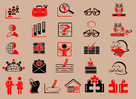 Set of detailed business education and media flat vector icons Vector