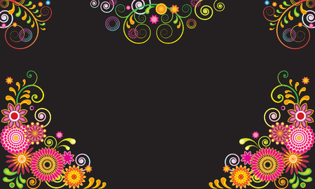 edit valentine: Colorful vector frame with fancy flowers
