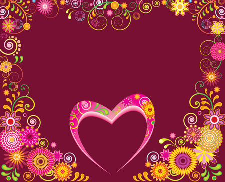 Fancy floral frame and heart for Valentines day Vector