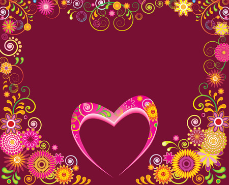 St.Valentine Day card or invitation with a heart and an abstract floral background Vector