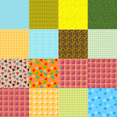16: A set of 16 seamless geometric vector patterns