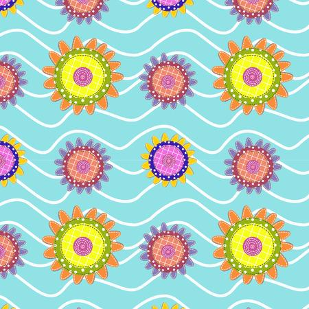 stitched: Stitched fabric flowers pattern, patchwork imitation.