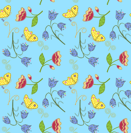 stitched: Stitched fabric flowers and butterflies, seamless pattern.