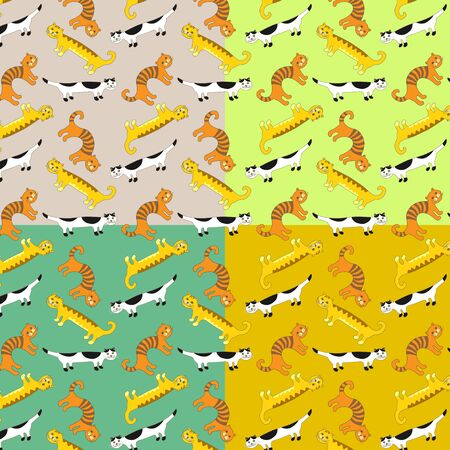 bedclothes: Funny cats, a set of seamless patterns.
