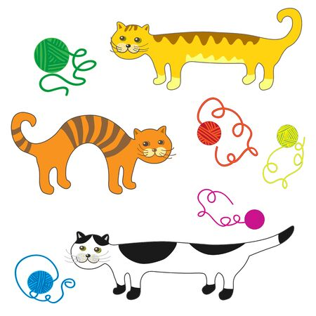 bedclothes: A set of fancy vector cats and balls of wool.