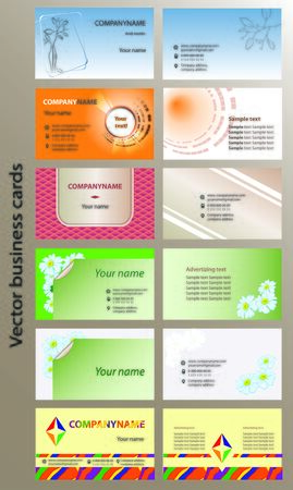 bleed: Set of bilateral horizontal vector business cards templates, print size 2 x 3.5, bleed size 2.25 x 3.75, CMYK color mode. Vector illustration, eps10.