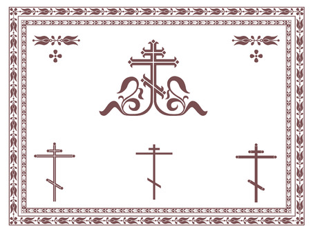 cross: Ornamental orthodox cross, geometric orthodox crosses, frames and decorative elements, vignette, divider, header.