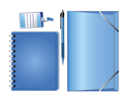 pad and pen: Business stationery set,  notebook, legal pad, pen, badge Illustration