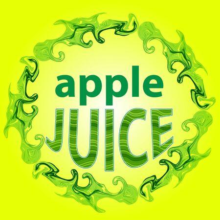 apple juice: Apple juice label, splashes of apple juice, splashes of juice pattern brush. Illustration