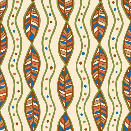 ethnographic: Seamless pattern with stylized flat ornamental leaves. Ethnographic style.