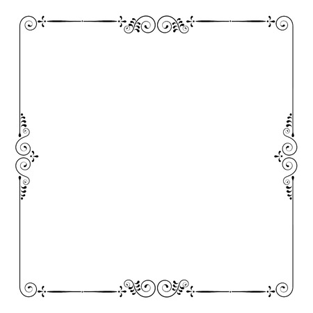 Square decorative frame with swirls and leaves. For invitations and certificates.