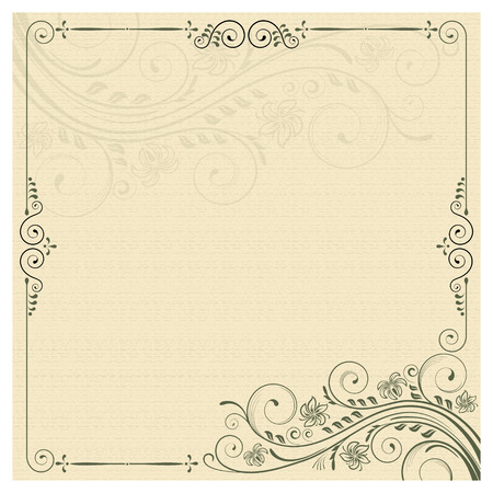 bleed: Square frame with decorative floral ornament and decorative background. Have some space for bleed. Template for invitations and certificates.