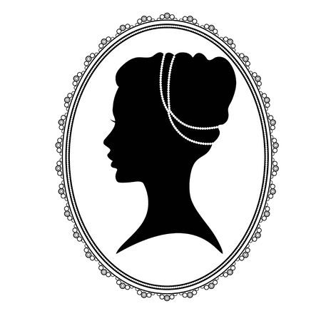 locket: Black silhouette of a womans head in an oval decorative frame, locket.