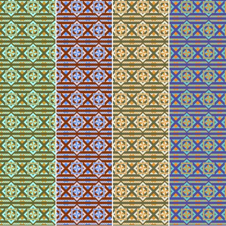 color samples: Geometric colorful seamless pattern, different color samples. Swatches of seamless pattern included in the file.