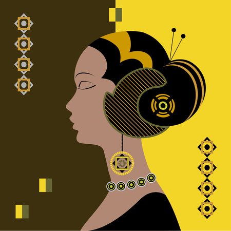 exotic woman: Silhouette of an exotic woman. Illustration