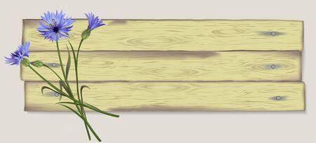 cornflowers: Illustration, banner, background with cornflowers on wooden planks.