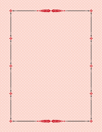 swatch book: Black and red decorative frame on background. Template for diplomas, book pages, certificates. Letter page format. Seamless patterns swatch is included in the EPS file.