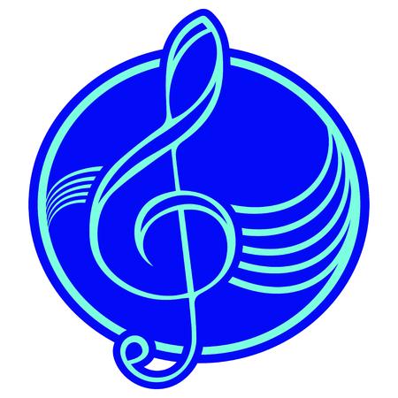 treble: Logo with treble clef. Illustration