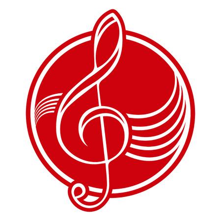 music logo: Logo with treble clef. Illustration