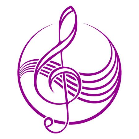 treble clef: Logo with treble clef. Illustration