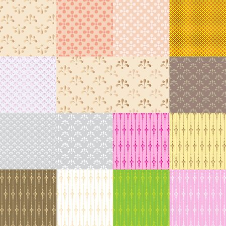 packing material: A set of 16 seamless patterns for backgrounds and packing materials. All pattern swatches are included in the file. Illustration