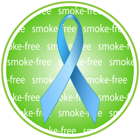 air awareness: Blue ribbon as a symbol of anti-tobacco and awareness on the harms of second-hand smoke campaigns. Round badge, icon.