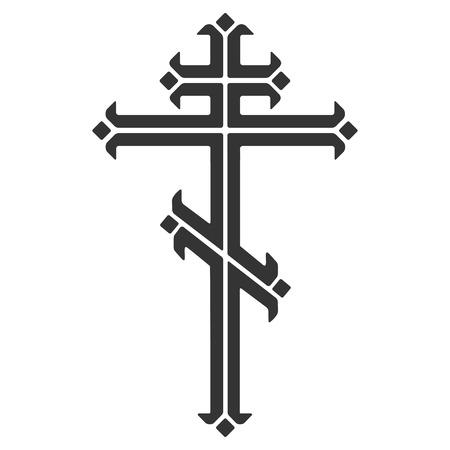 Sier orthodox kruis. Stock Illustratie