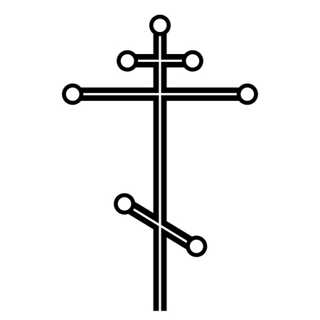 the believer: Black vector orthodox cross of simple shapes. Illustration