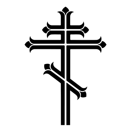 Ornamental orthodox cross. 矢量图像