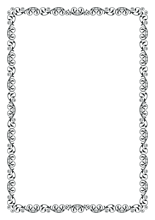 floral border frame: Black decorative frame. A4 page format.