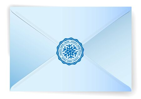 happy new year stamp: Blue closed envelope with a Happy New Year stamp, illustration, eps10, vector