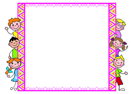a4 borders: Decorative frame with kids for diplomas, A4 page format CMYK color mode.