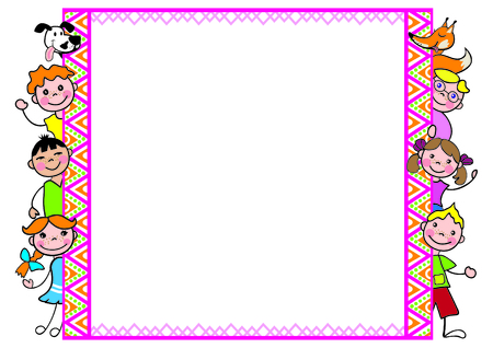 Decorative frame with kids a funny fox for diplomas, A4 page format