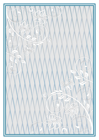 lattice frame: Decorative blue frame with a pale floral ornament and lattice on background. Template for diplomas, certificates. A4 page format.