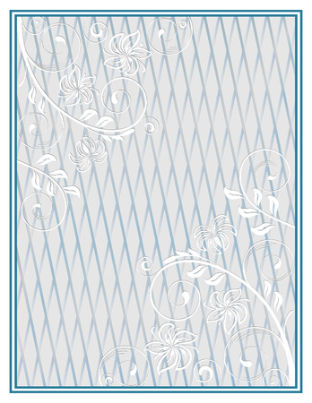 lattice frame: Decorative blue frame with a pale floral ornament and lattice on background. Template for diplomas, certificates. Letter page format. Illustration