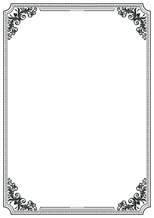 Black decorative frame with vignettes. A4 page format. Vektorové ilustrace