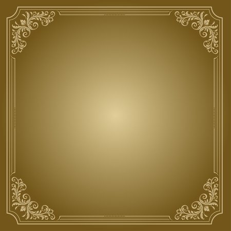 vignettes: Gold and brown square decorative frame with vignettes. Illustration
