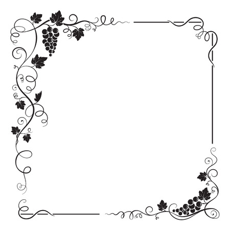grapes on vine: Decorative black square frame with bunch of grapes, grape leaves, swirls. Illustration
