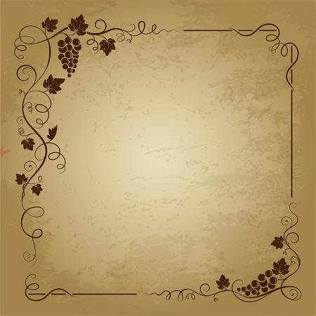 ブドウの房と装飾的な正方形のフレーム、ブドウの葉、グランジ背景に渦巻きます。