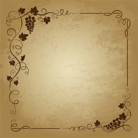 Decorative square frame with bunch of grapes, grape leaves, swirls on grunge background.