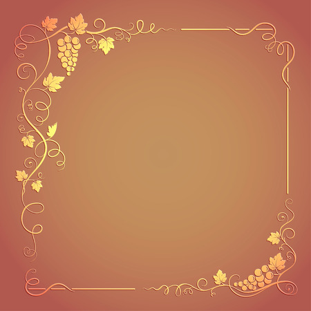 transparency color: Decorative square frame with bunch of grapes, grape leaves, swirls on background. RGB color mode. Transparency effects.