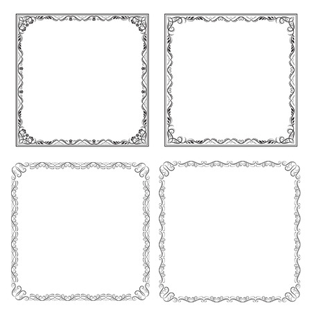 Four black square frames with swirls and leaves, page decoration.