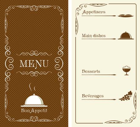 main dishes: Template, design for menu. Illustration