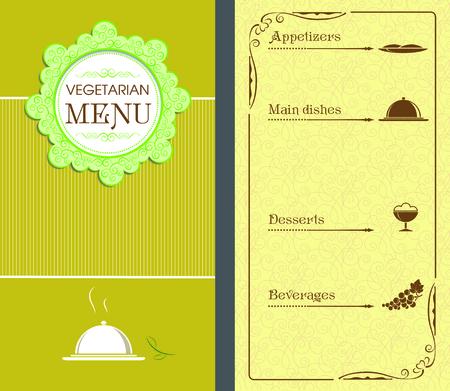 main dishes: Template, design for vegetarian menu. Illustration